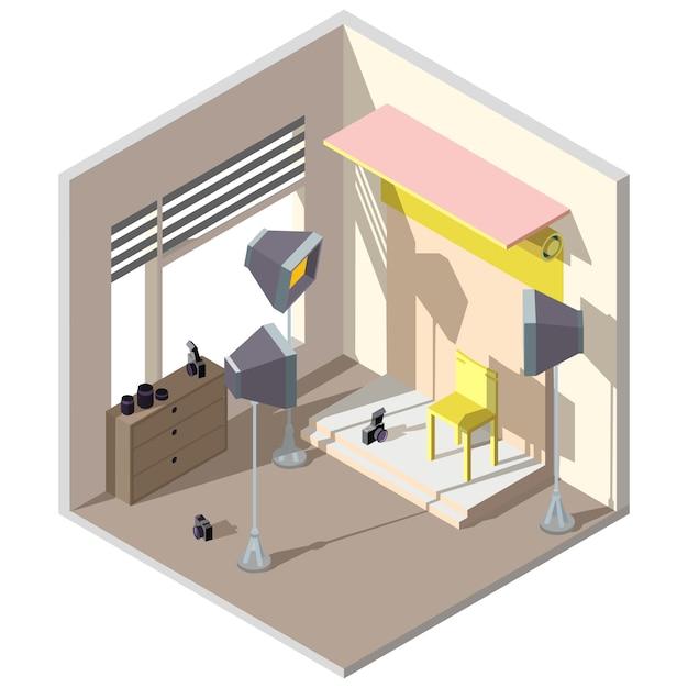 3d isometrische fotografiestudio. architectuur interieur. Gratis Vector