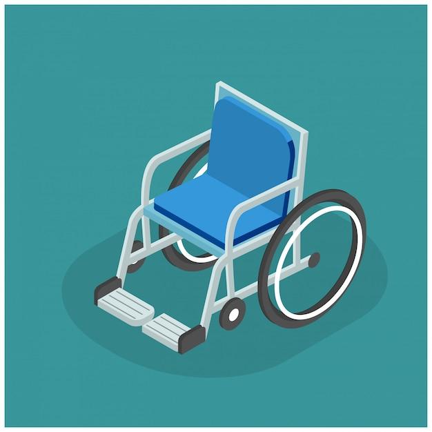 3d isometrische illustratie van flat rolstoel Premium Vector