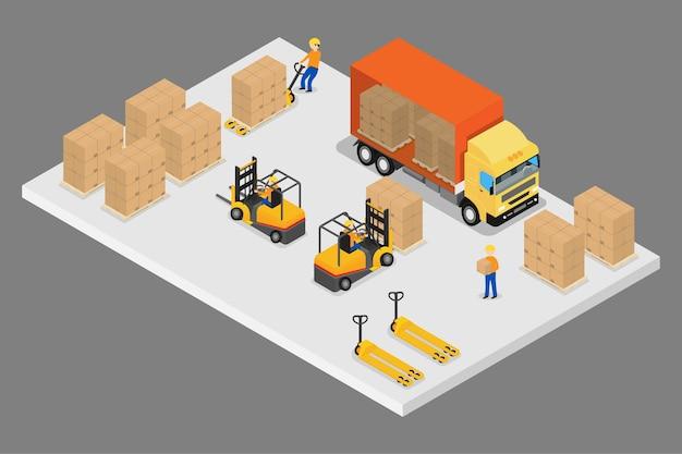3d isometrische logistiek en magazijn Premium Vector