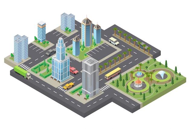 3d isometrische megapolis, stad. verzameling van wolkenkrabbers, gebouwen en parkeerplaatsen Gratis Vector