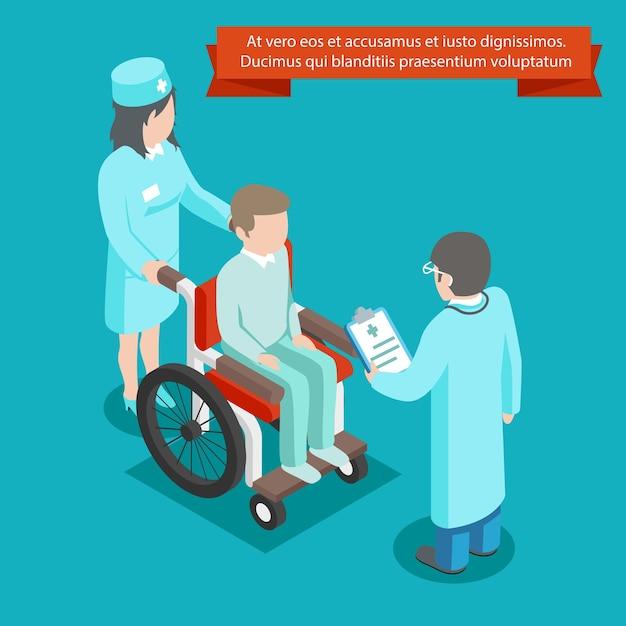 3d isometrische patiënt op rolstoel met dokterspersoneel. geneeskunde en gezondheid, gezondheidszorg Gratis Vector