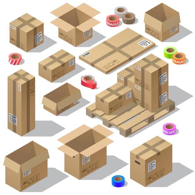 3d isometrische set van kartonnen verpakkingen Gratis Vector