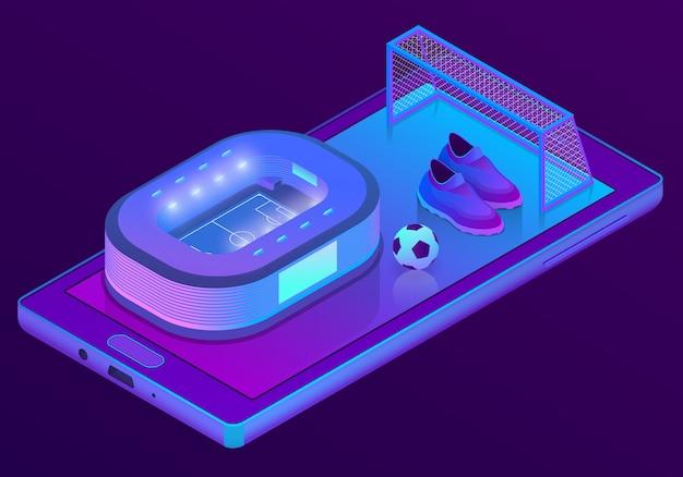 3d isometrische smartphone met voetbalstadion Gratis Vector