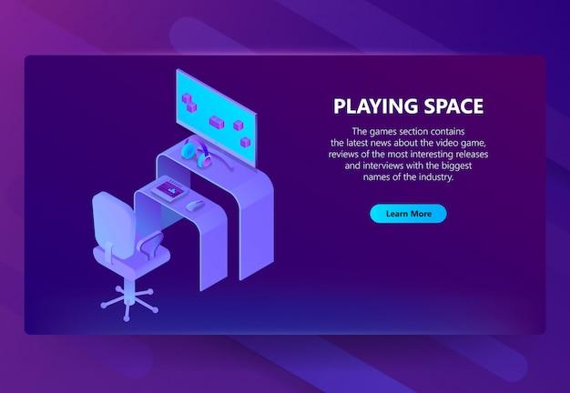 3d isometrische spelsite, entertainmentnieuws Gratis Vector