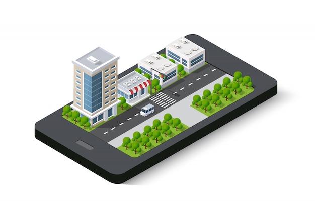 3d-kaart van isometrische stad mobiele telefoon op straat. Premium Vector