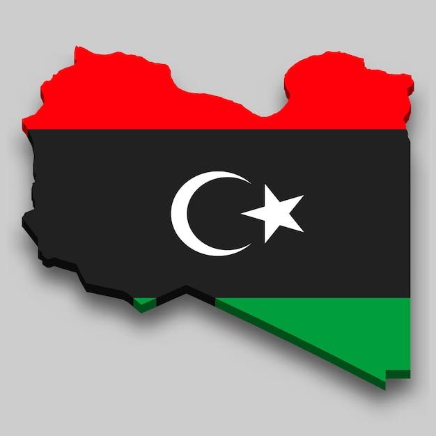 3d-kaart van libië met nationale vlag. Premium Vector