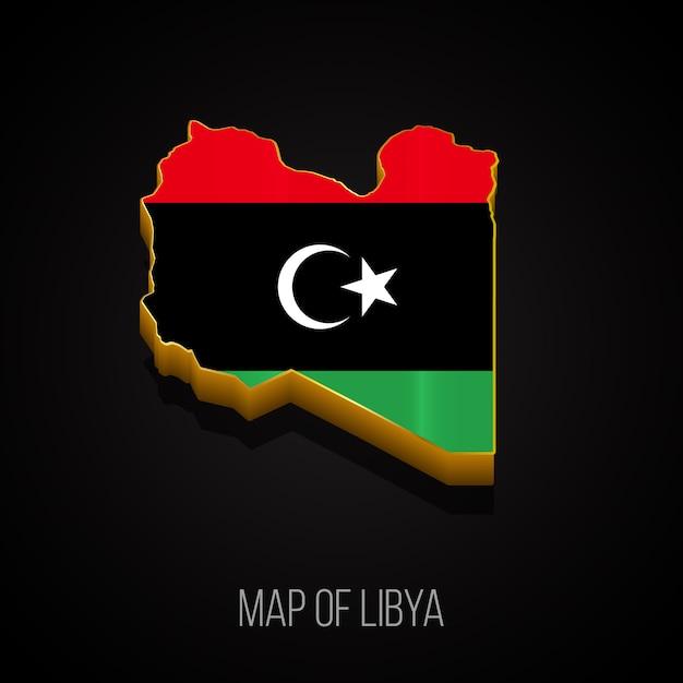 3d-kaart van libië Premium Vector