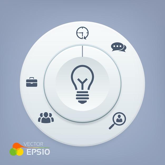 3d-knop met pictogrammen bedrijfs Premium Vector