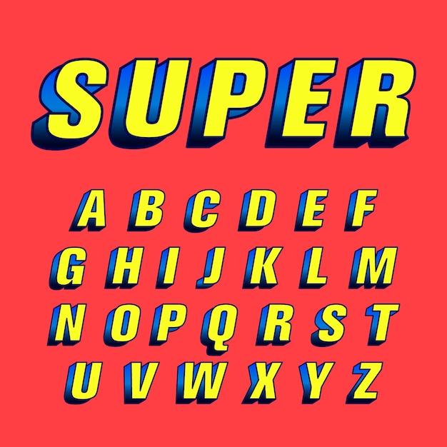 3d-komische alfabet concept Gratis Vector