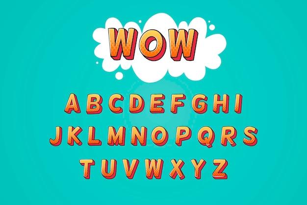 3d-komische alfabet set Premium Vector