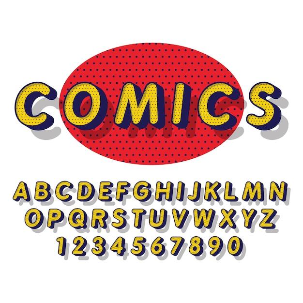 3d-komische alfabet Gratis Vector