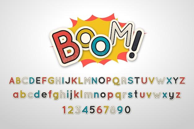3d-komische alfabetstijl Gratis Vector
