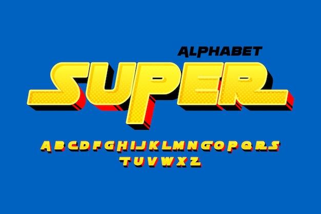 3d-komische alfabetthema Gratis Vector