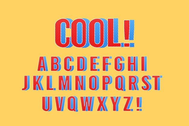 3d-komische thema voor alfabet Gratis Vector