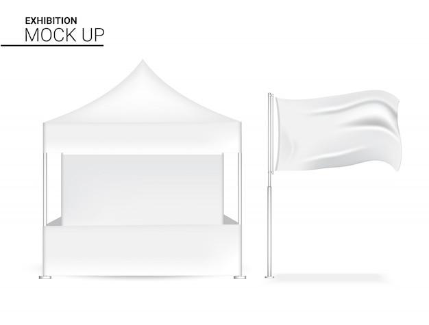 3d-lege realistische stand pop weergeven voor winkelverkoop marketing promotie tentoonstelling met vlag Premium Vector