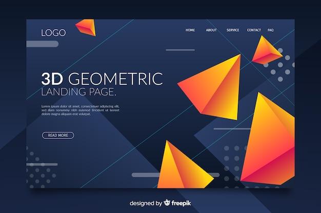 3d levendige geometrische vormen bestemmingspagina Gratis Vector