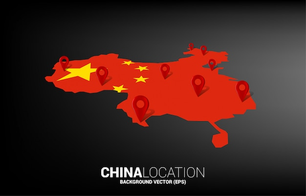3d locatie pin marker op de kaart van china. concept voor china gps-navigatiesysteem infographic. Premium Vector