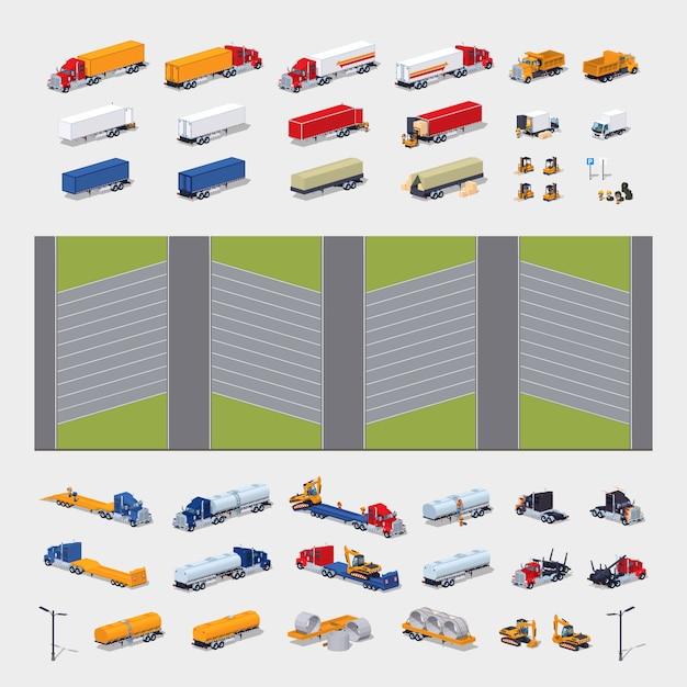 3d lowpoly isometrische bouwreeks van de parkeerterreinbouw Premium Vector