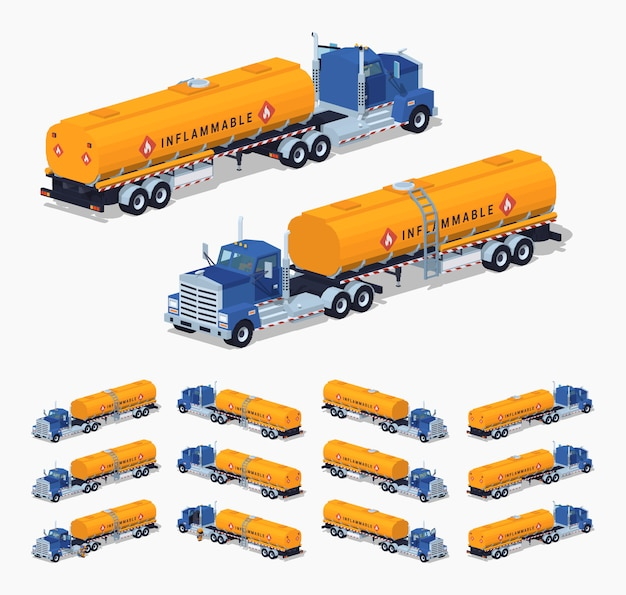 3d lowpoly isometrische vrachtwagen met de brandstoftank Premium Vector