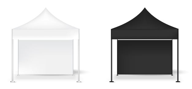 3d mock-up realistische tent-displaywand pop booth-tentoonstelling Premium Vector