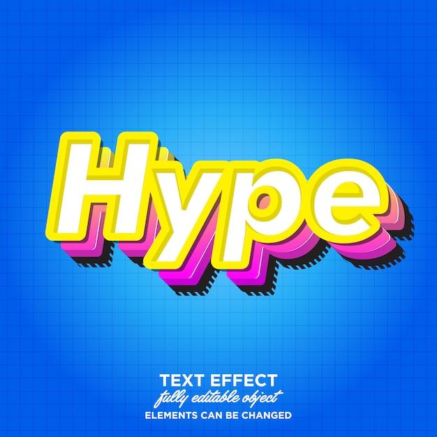 3d modern hype font-effect voor sticker Premium Vector