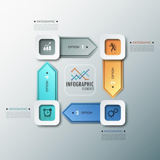 3d moderne infographicsoptiesbanner met pijlen Premium Vector