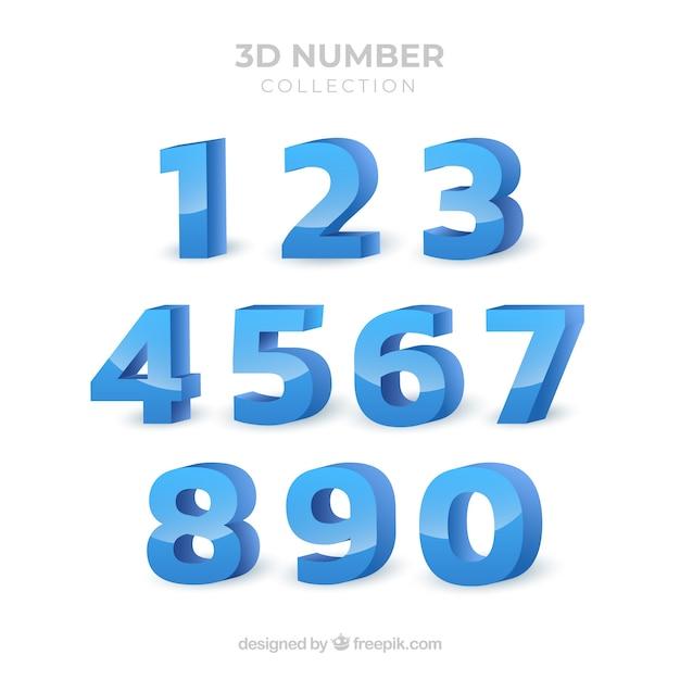 3d-nummerinzameling Gratis Vector