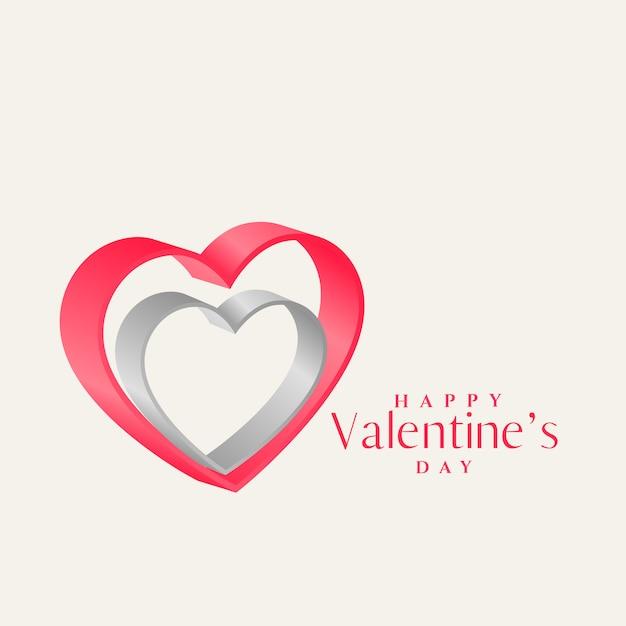 3d ontwerp van de hartenvorm voor de dag van de valentijnskaart Gratis Vector