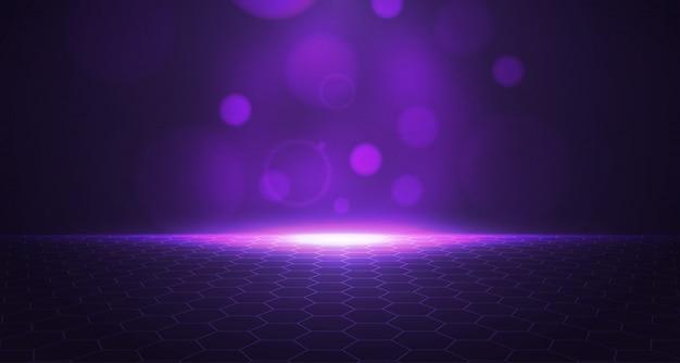3d paarse zeshoek achtergrond Premium Vector