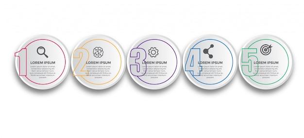 3d-papier met dunne lijn infographic ontwerpsjabloon Premium Vector
