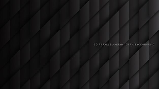 3d parallelogrammen conceptuele zwarte abstracte achtergrond Premium Vector