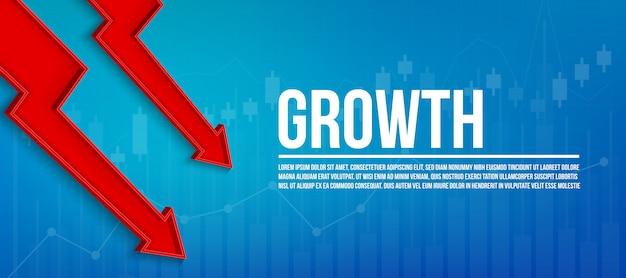 3d pijl financiële groei, grafische achtergrond groeien Premium Vector