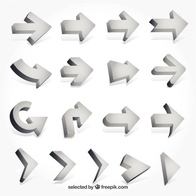 3d pijlen collectie Gratis Vector