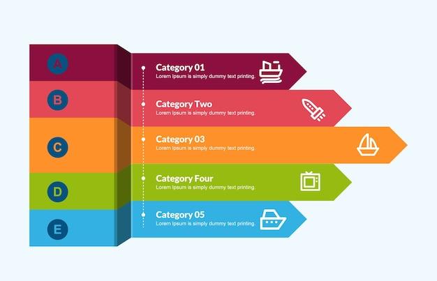 3d-pijlen sjabloon voor infographics Premium Vector