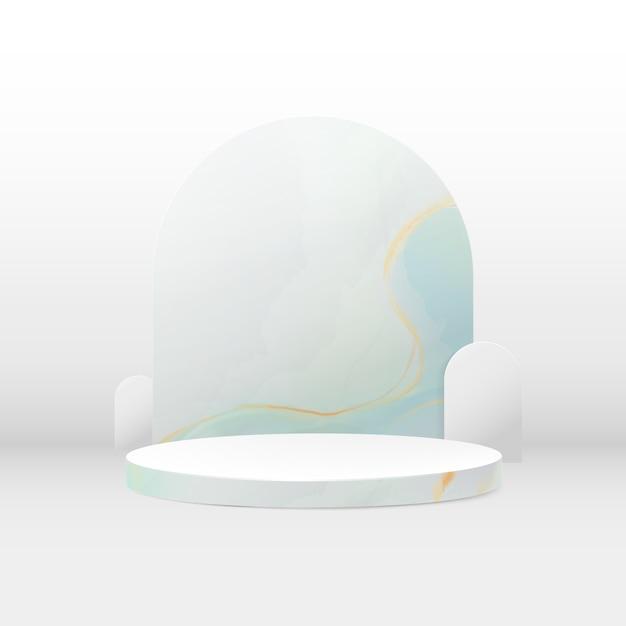 3d podiumsamenstelling. abstracte minimale geometrische achtergrond. marmeren textuur. ruimte voor uw ontwerp. Premium Vector