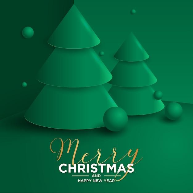 3d prettige kerstdagen en nieuwjaarskaart met realistische 3d-kerstboom Gratis Vector