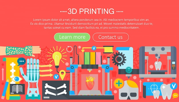 3d-printer technologie web concept Premium Vector