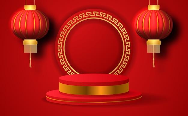3d productvertoning van het cilinderpodium voor chinees nieuwjaar met hangende lantaarn in rode kleur Premium Vector