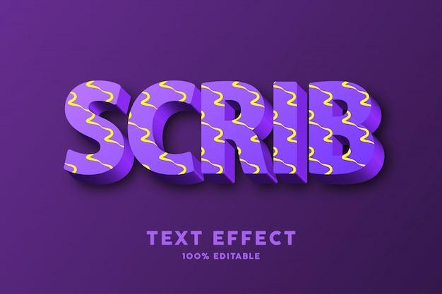 3d purpere vers met geel de teksteffect van het krabbelpatroon Premium Vector