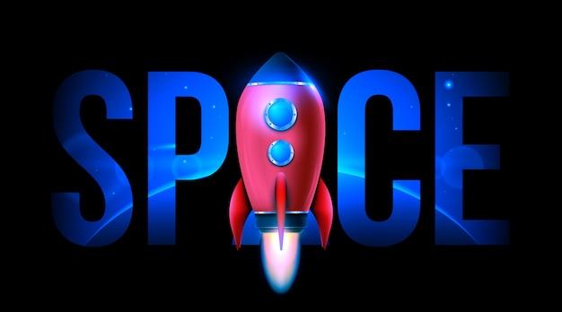 3d raket ruimteschip lancering. ruimteonderzoek. Premium Vector