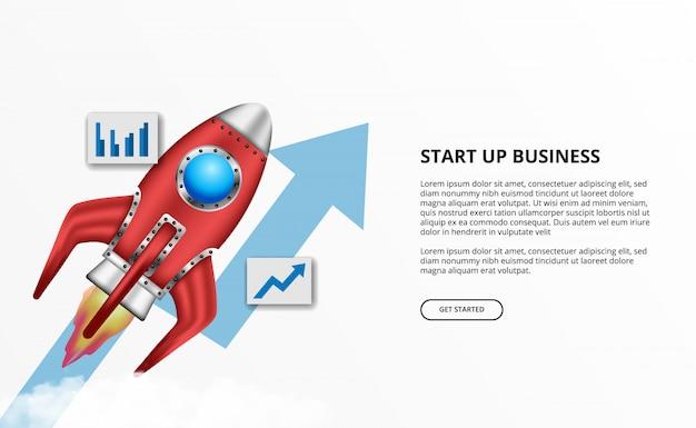 3d-raketlancering voor opstarten van bedrijven met succesgroeipijl Premium Vector