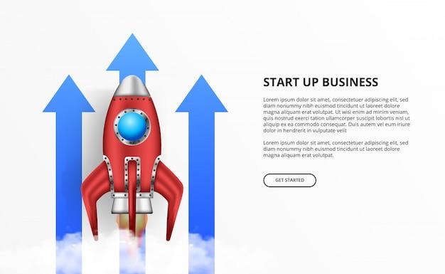 3d-raketlancering voor start-up opgroeipijl Premium Vector