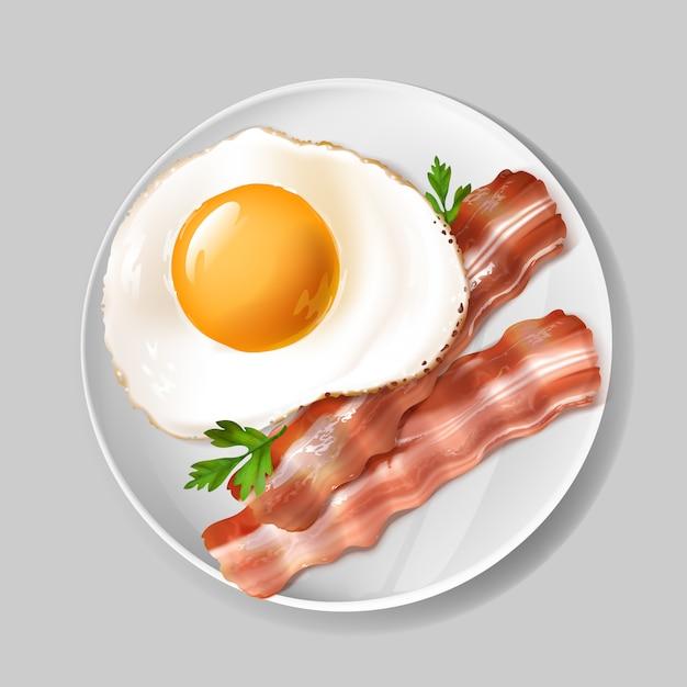 3d realistisch engels ontbijt - smakelijk bacon, gebraden ei met groene peterselie op witte plaat. Gratis Vector