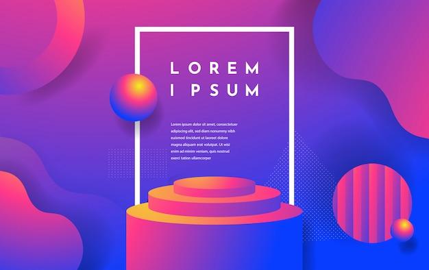 3d-realistische abstracte scène met podium, roze en paarse kleur met geometrische vormen en vloeibare achtergrond. Premium Vector