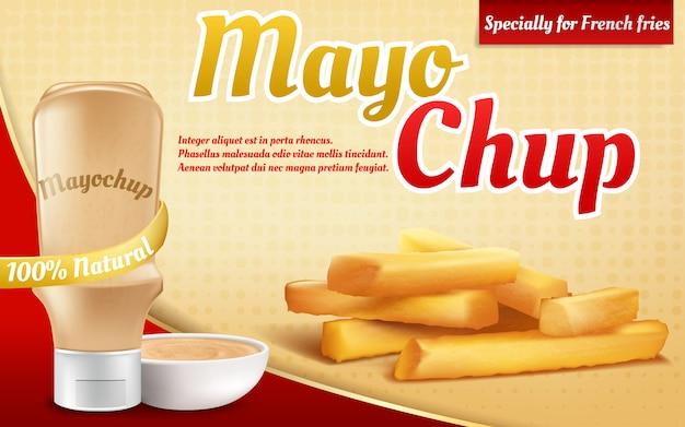 3d-realistische advertentie poster met plastic fles met mayochup-saus. frieten en mix, mix Gratis Vector