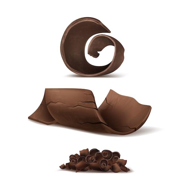 3d-realistische chocoladeschilfers. bruin heerlijke stekken voor verpakking, pakketsjabloon. Gratis Vector