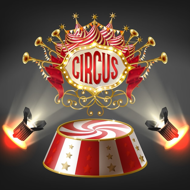 3d-realistische circusfase in heldere stralen van schijnwerpers. label met bloembollenframe Gratis Vector