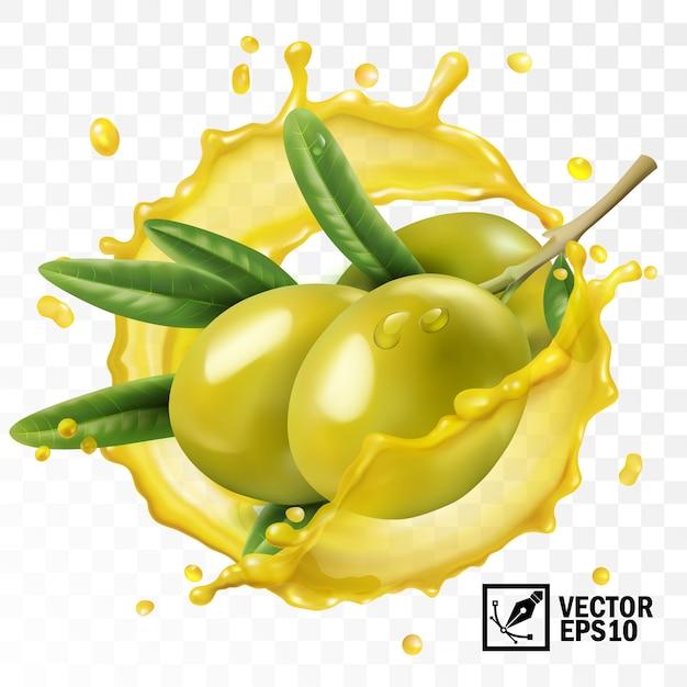 3d-realistische geïsoleerde transparante scheut olijfolie met een tak van olijfvruchten met bladeren Premium Vector