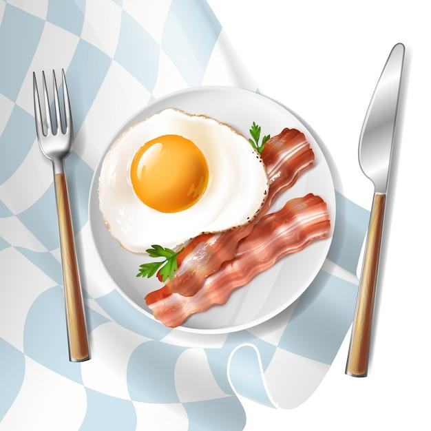 3d realistische illustratie van gebraden eieren met geroosterde baconstroken en groene peterselie Gratis Vector