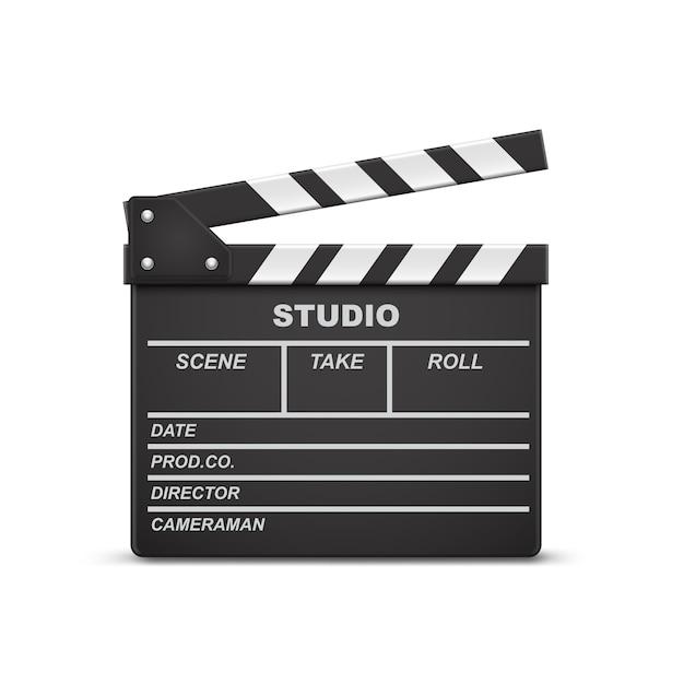 3d realistische illustratie van open film clapperboard of klep die op achtergrond wordt geïsoleerd Gratis Vector